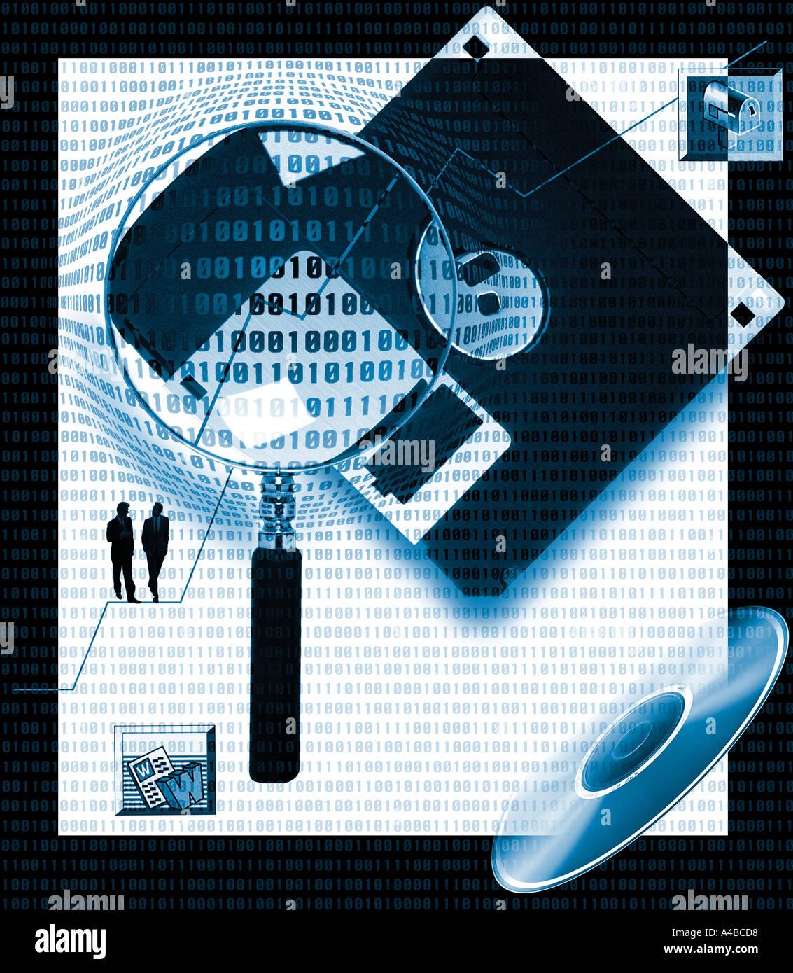 L'accent sur la technologie de l'information informatique logiciel de collage avec des données binaires Photo Stock