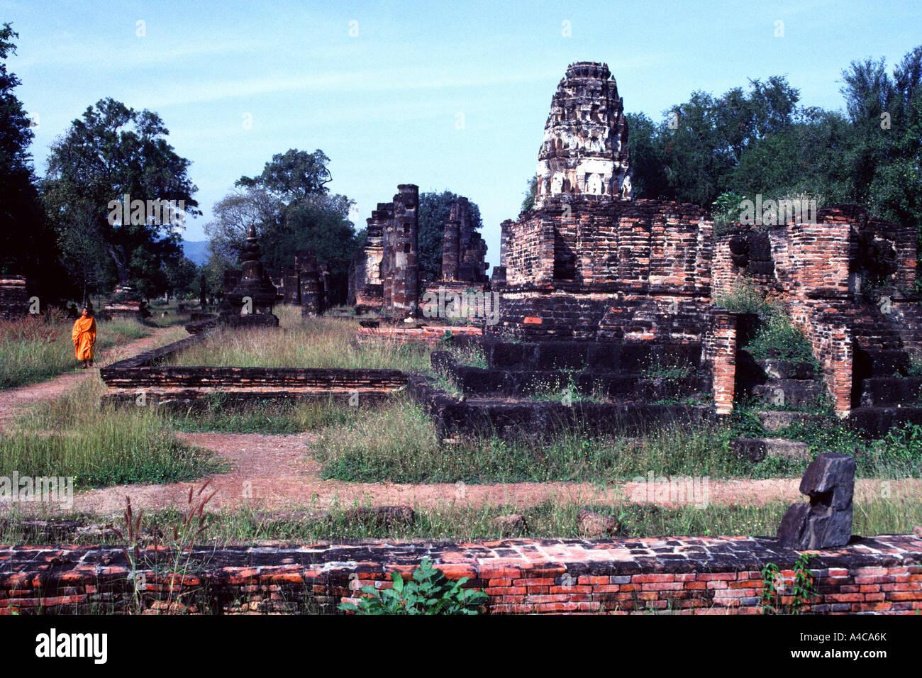 Jeune moine bouddhiste, Ayutthaya, Thaïlande Banque D'Images