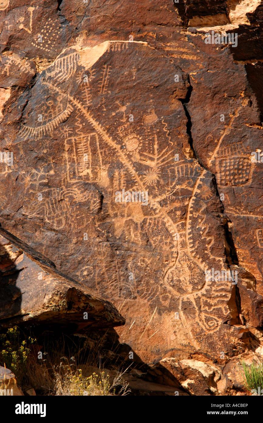 Parowan gap pétroglyphes, Utah Banque D'Images