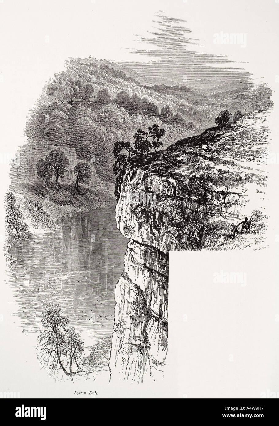 Lytton dale Derbyshire cliff précipice valley river pierre eau haute de l'arbre naturel Géologie dangereuses travel UK GB Great Britain U Banque D'Images