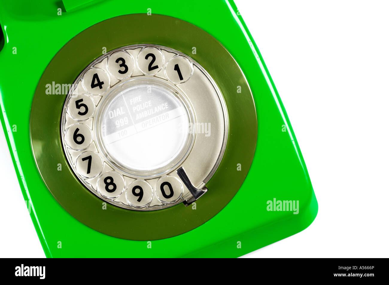Années 70 rétro vert Téléphone Photo Stock