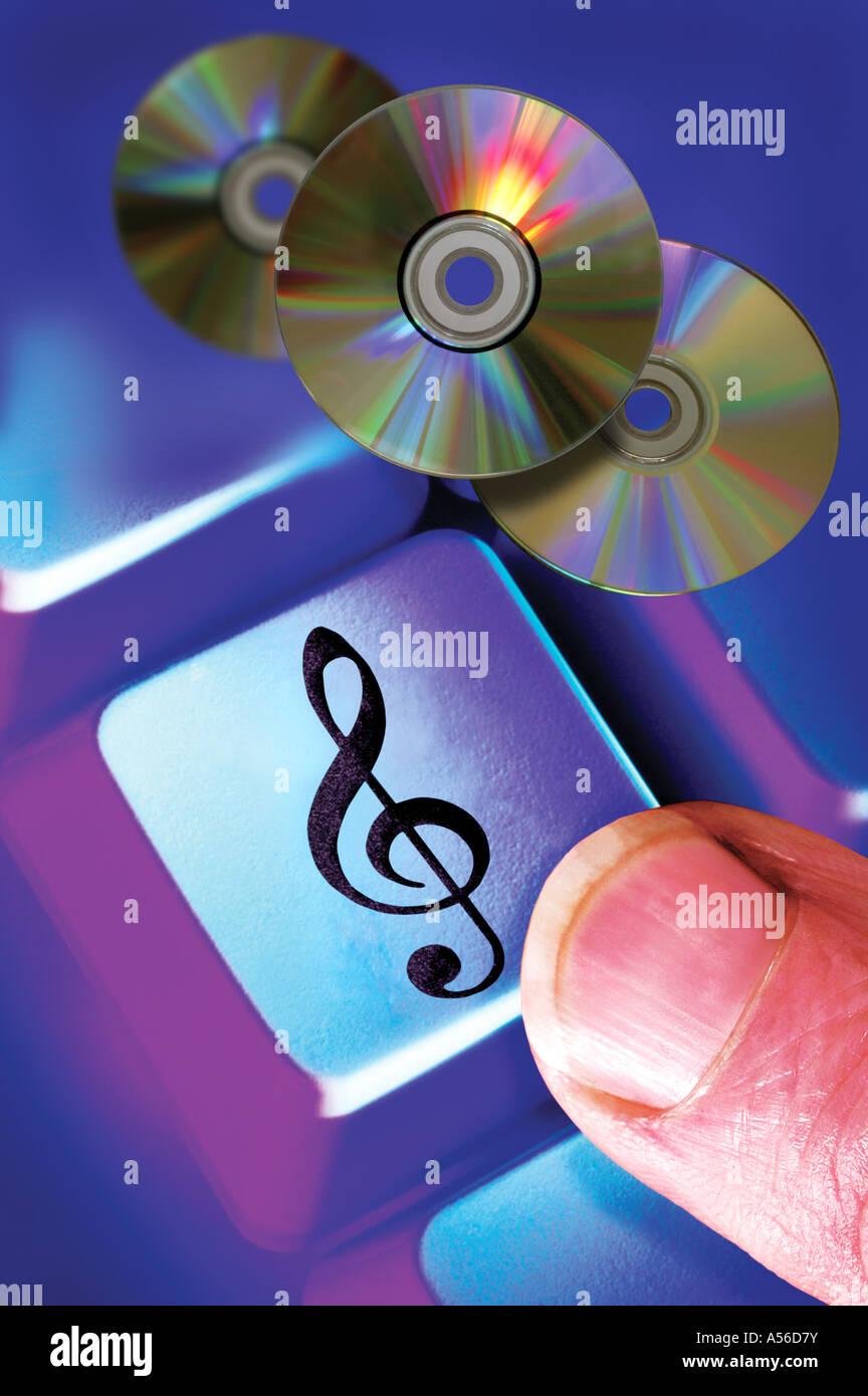 Le téléchargement de musique en ligne d'internet Photo Stock
