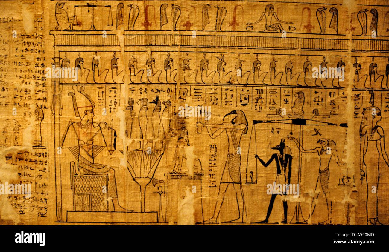 L'Antiquité Papyrus Pharaon Art Peinture Peinture hiéroglyphes hiéroglyphes hiéroglyphe Photo Stock
