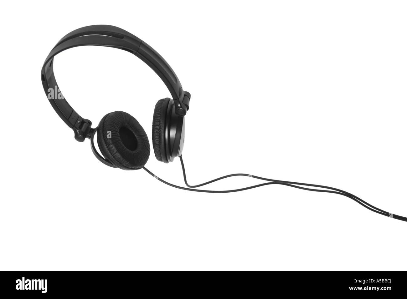 Écouteurs découper sur fond blanc Photo Stock