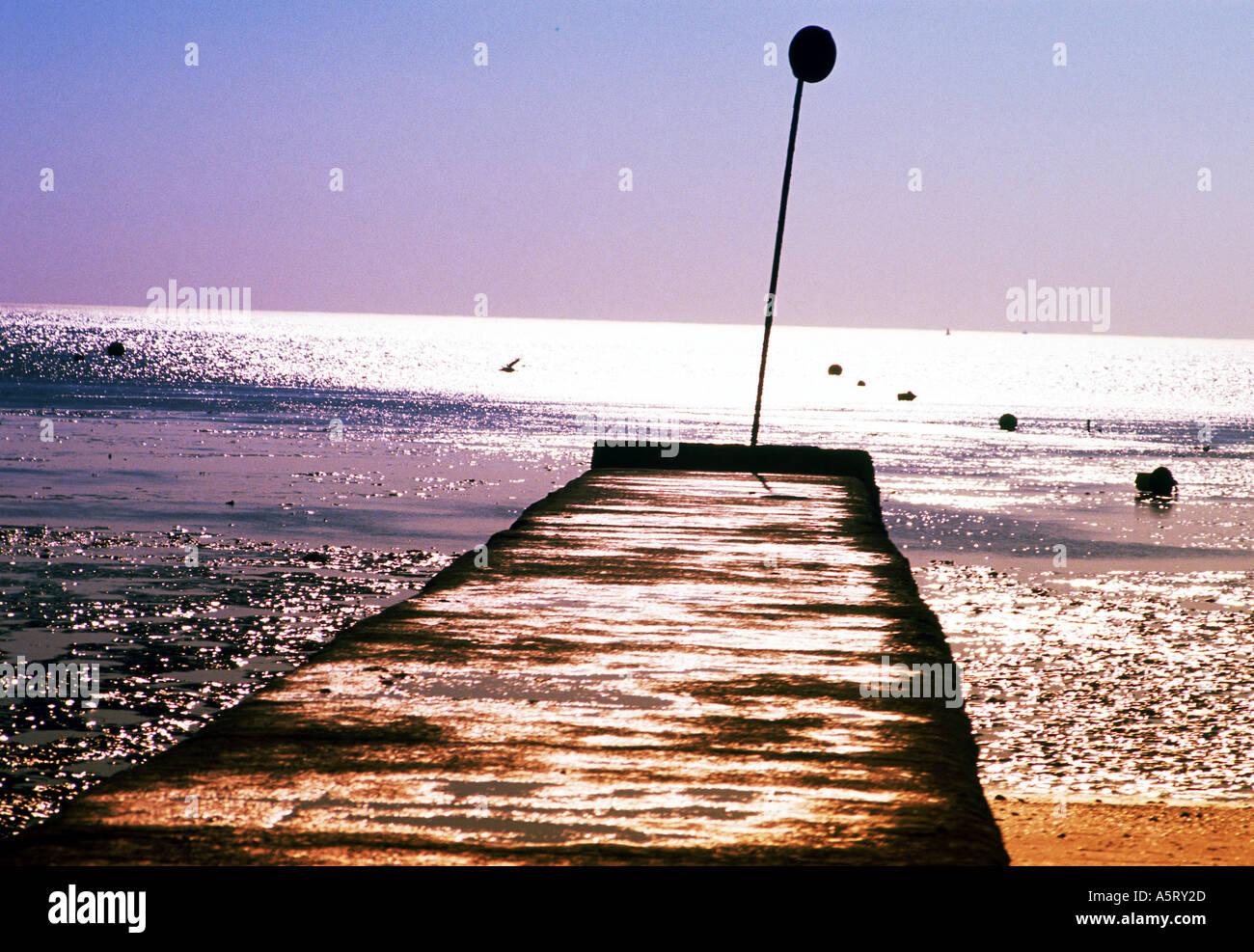 Jetée à marée basse Banque D'Images