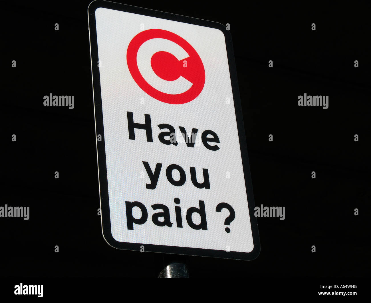 Congestion charge avez-vous payé signer London England Photo Stock