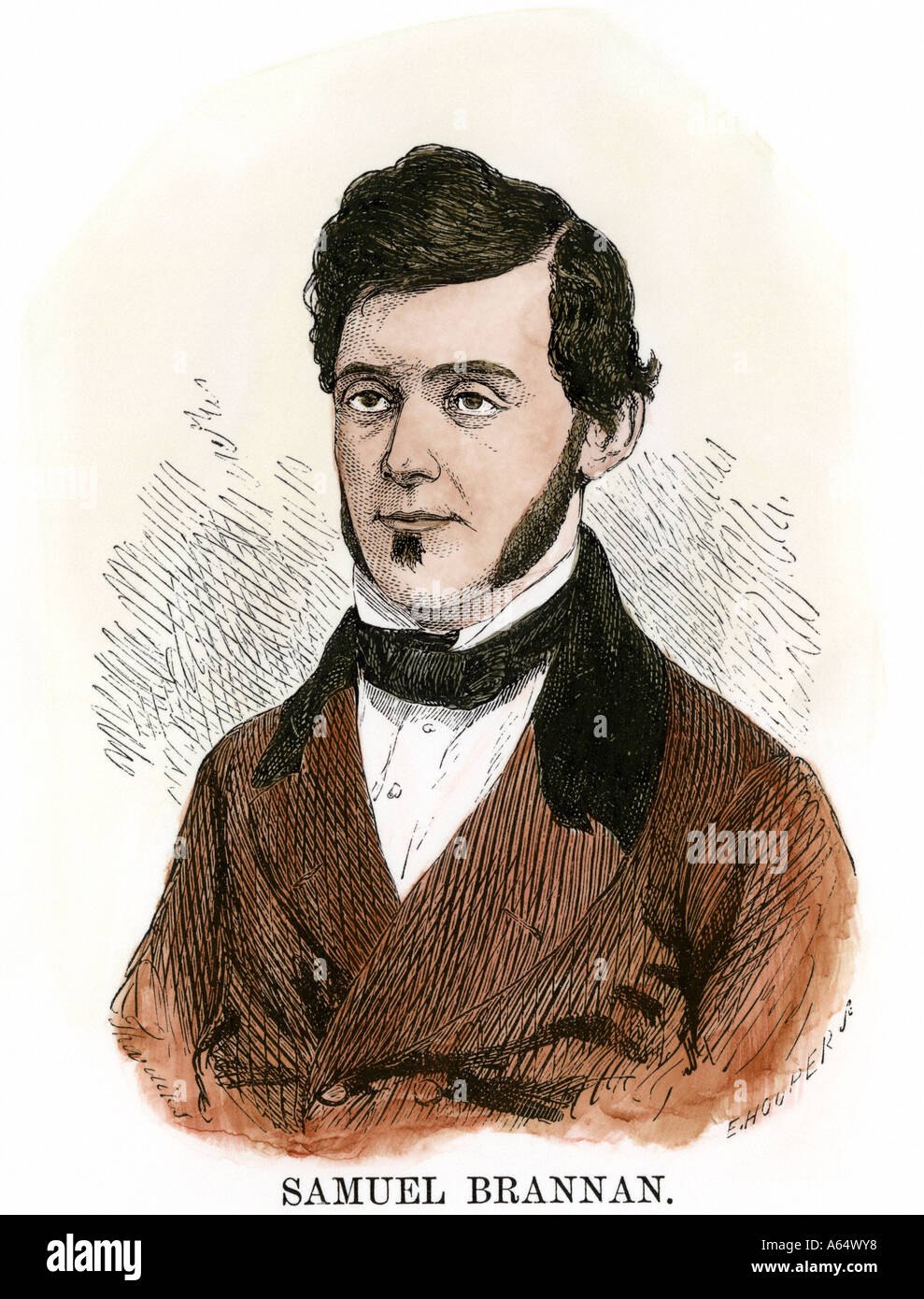 Sam ou Samuel Brannan pionnier de la Californie des années 1850. À la main, gravure sur bois Photo Stock