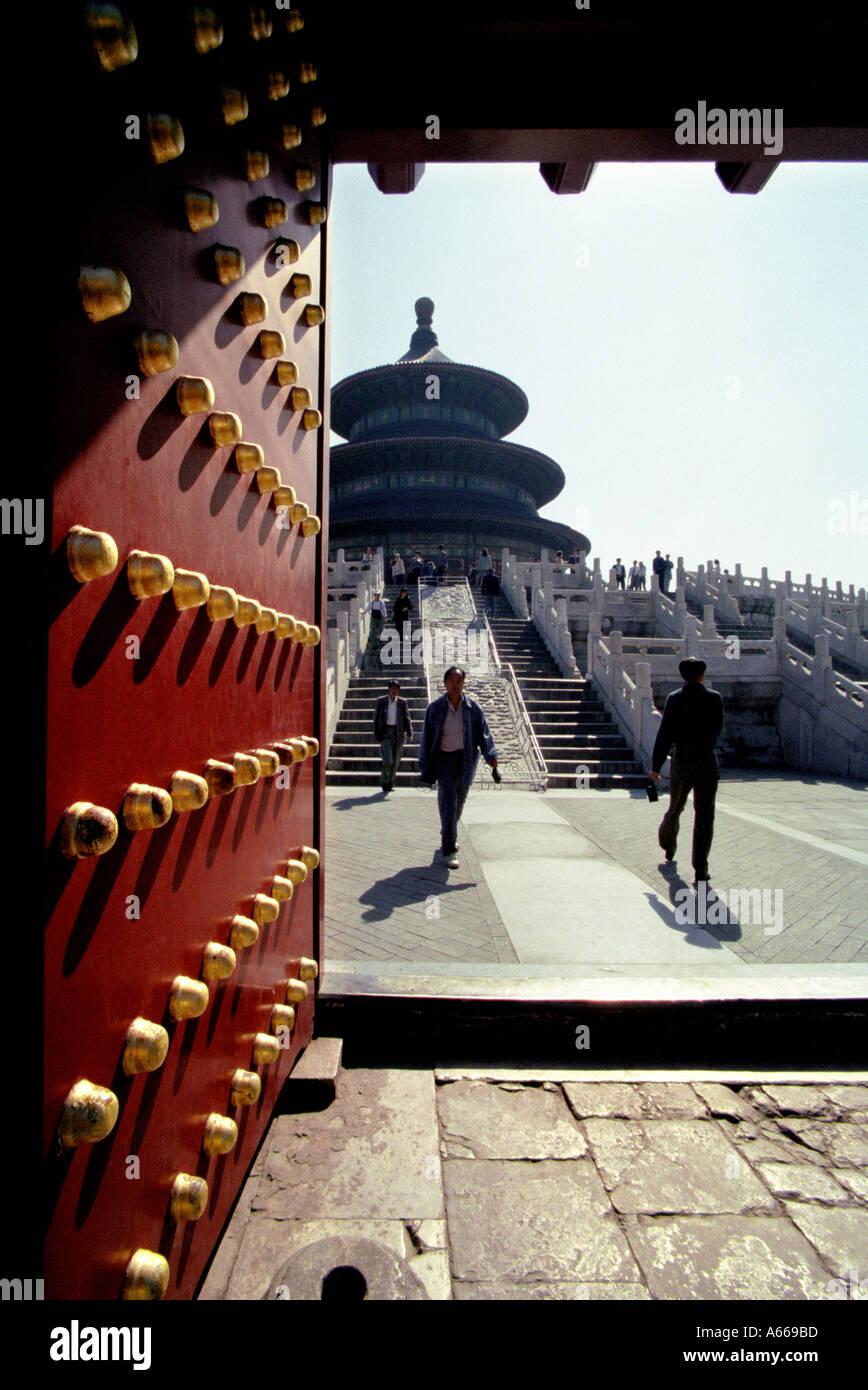 Temple du Ciel à Beijing Chine comme vu à partir de l'entrée principale à l'extérieur Banque D'Images