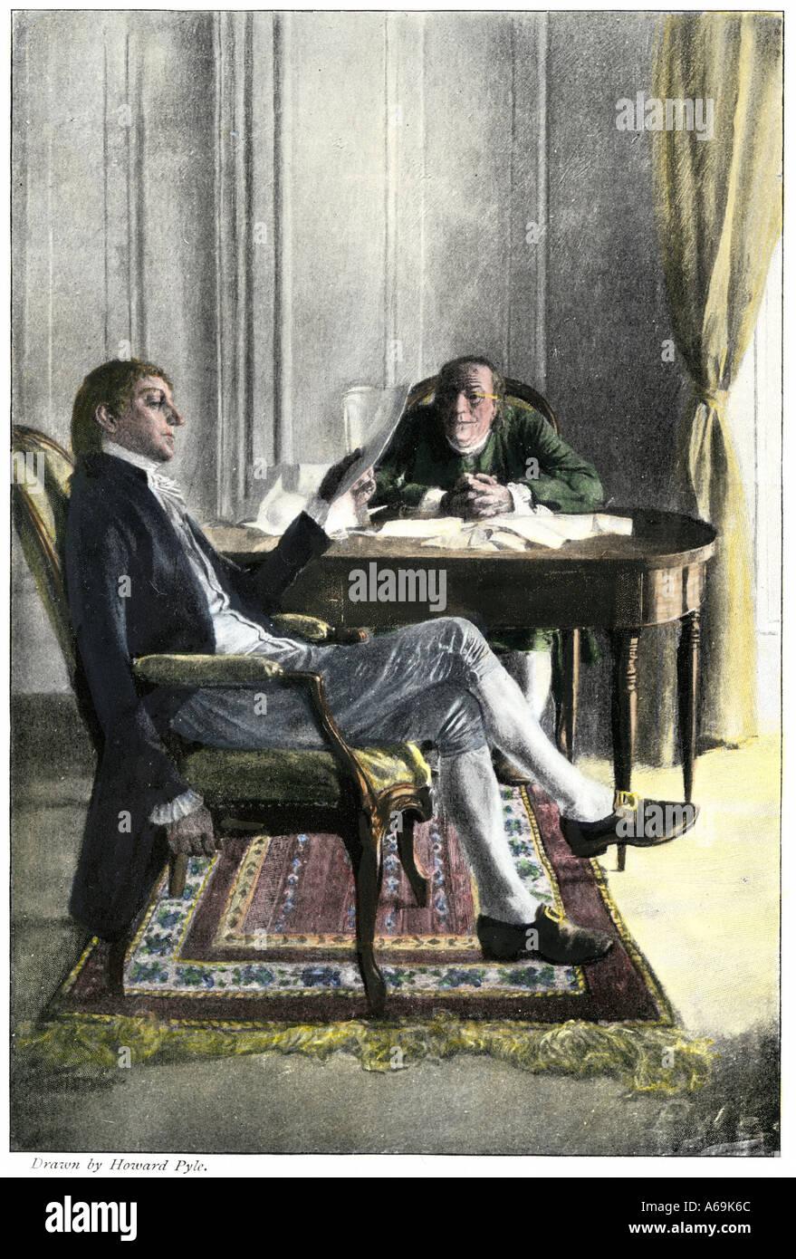 Benjamin Franklin et Richard Oswald à Paris Discussion du traité de paix mettant fin à la Révolution américaine. À la main, gravure sur bois Photo Stock