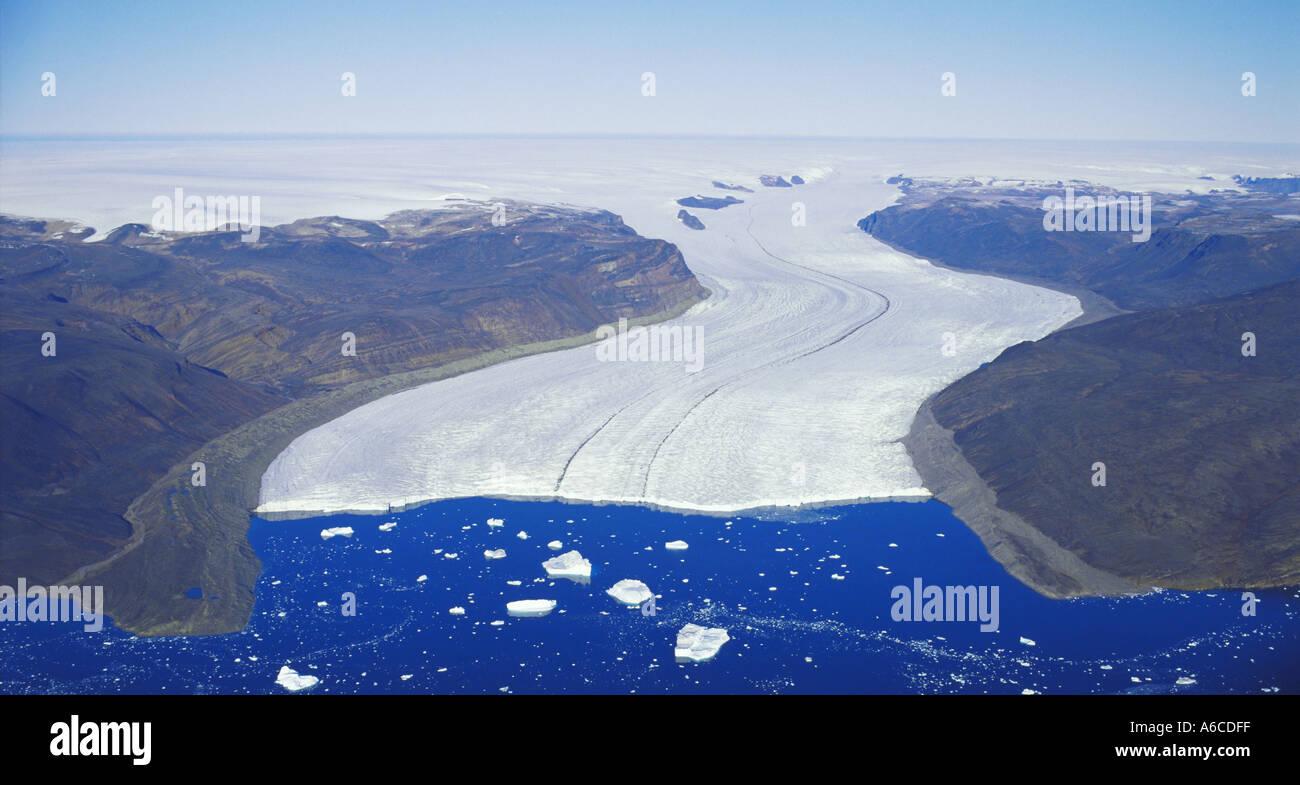 Hubbard Glacier se jette dans le fjord d'Inglefield Thule Greenland Banque D'Images