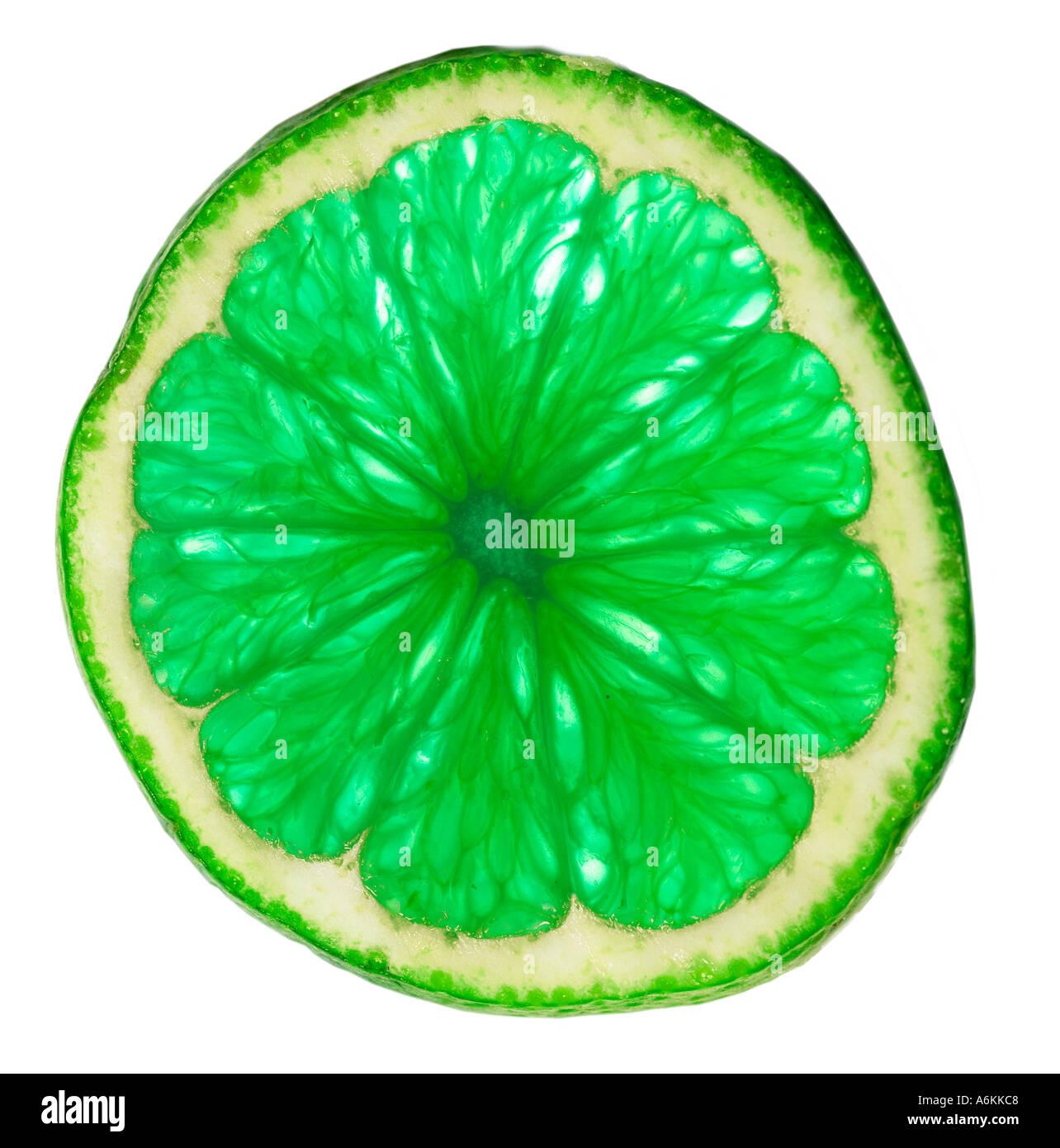Seule tranche de lime (close-up) Photo Stock