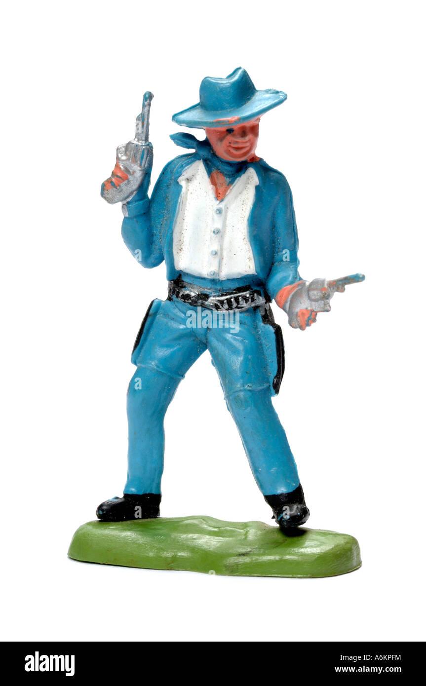 Jouet cowboy rétro en plastique Photo Stock