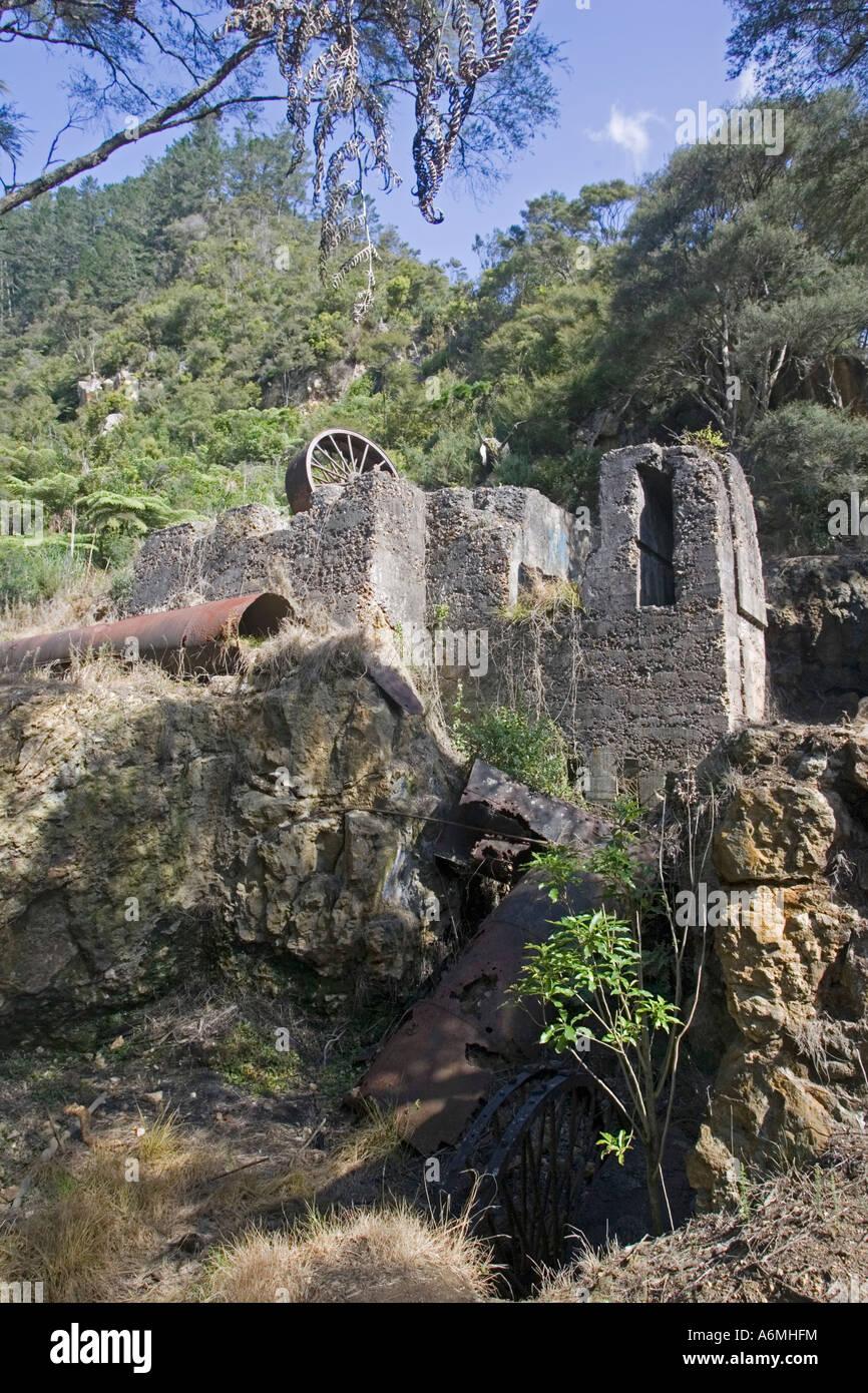 Fonctionnement de l'extraction de l'or ancien Karangahake Gorge près de Paeroa Nouvelle-zélande Photo Stock