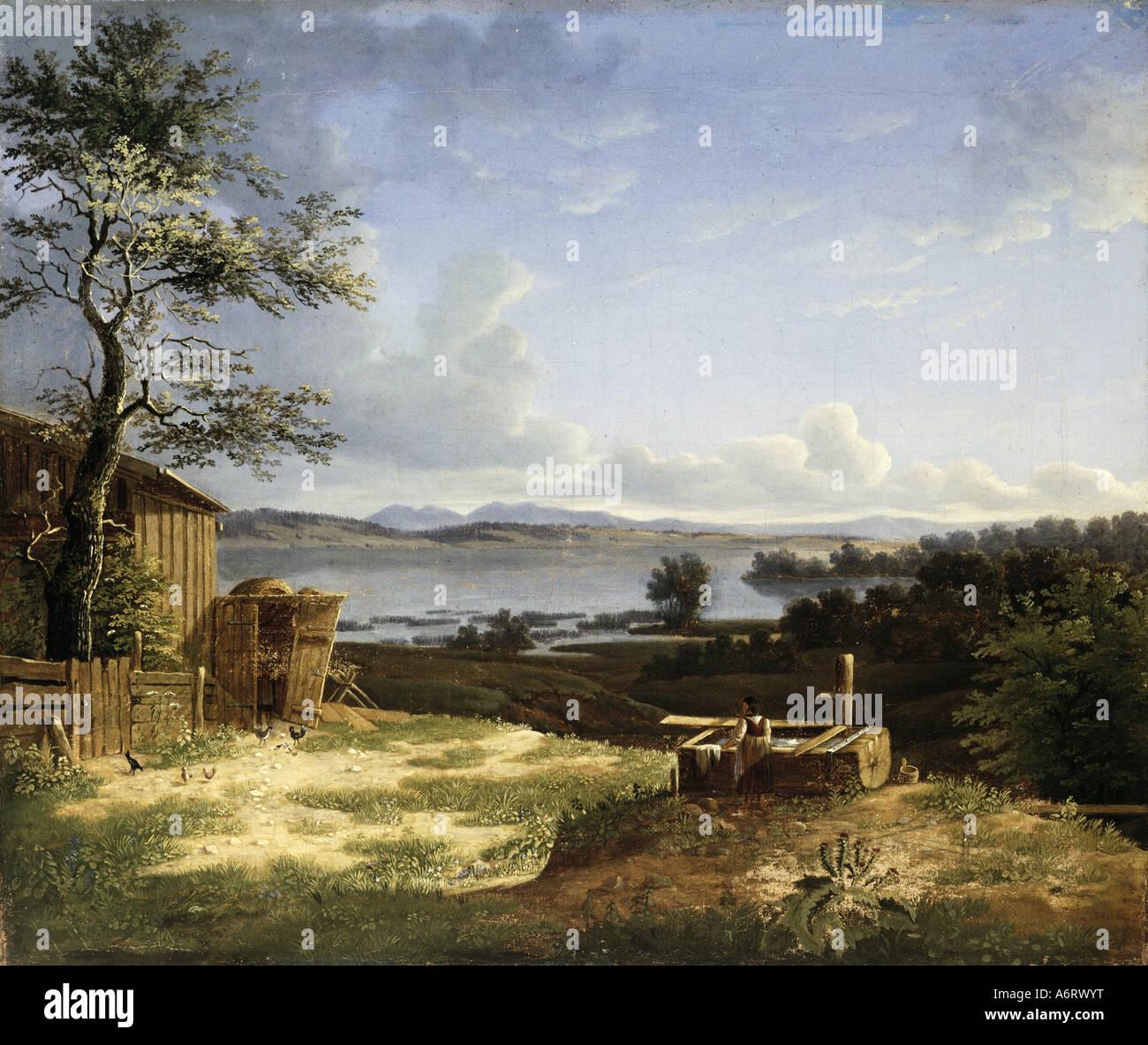 Beaux-arts, romantisme, peinture, paysage à la Osterseen, artiste inconnu, 1802, huile sur toile, 37,5x45 cm, Photo Stock