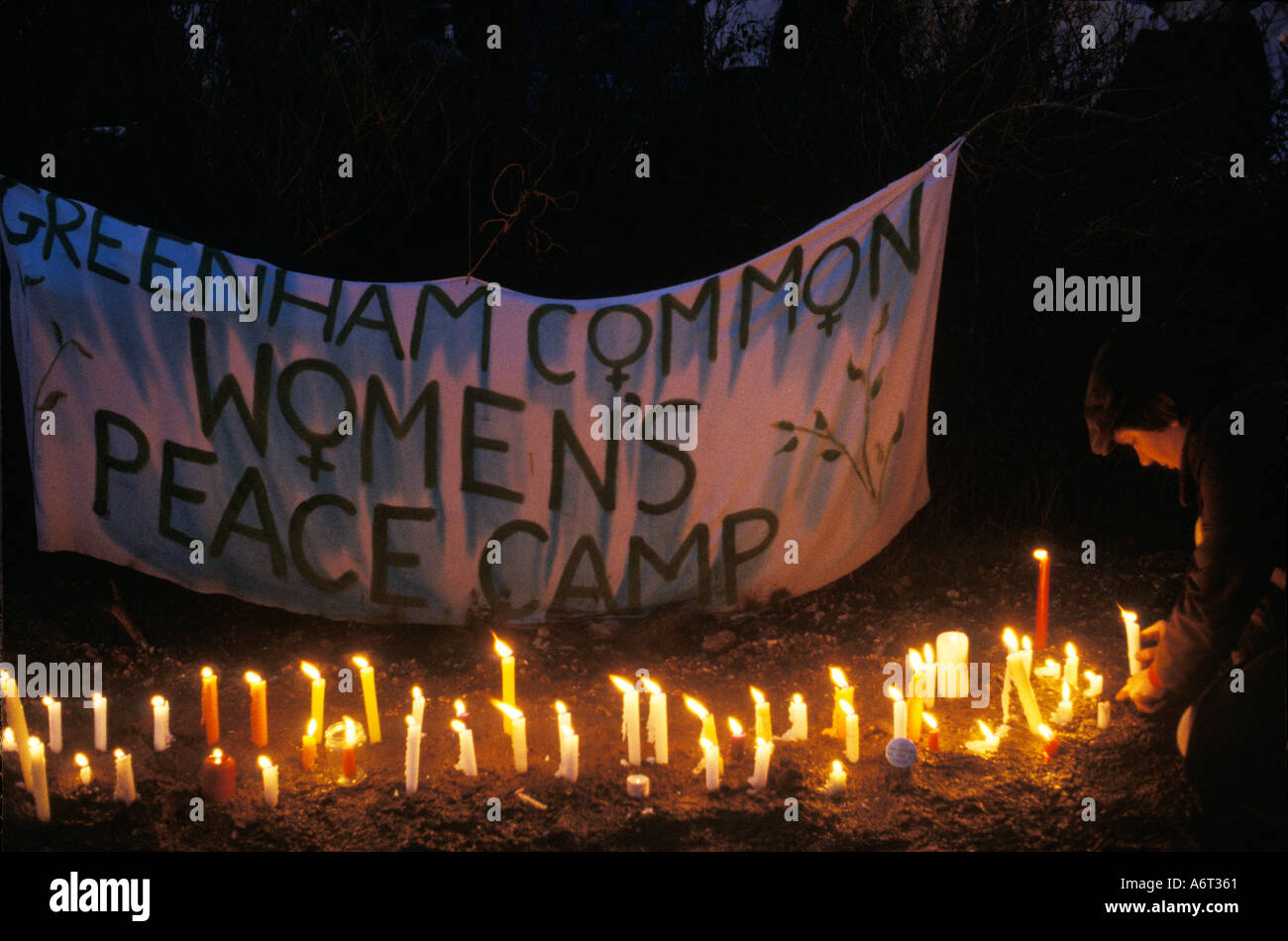 Camp de la paix femmes Greenham Common Berkshire Angleterre 1983. HOMER SYKES Photo Stock