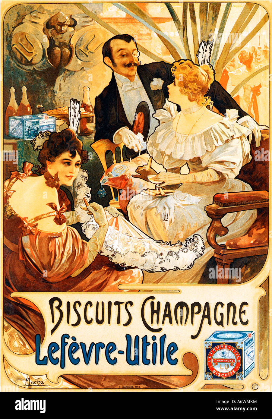 biscuits champagne 1896 affiche art nouveau alphonse mucha. Black Bedroom Furniture Sets. Home Design Ideas