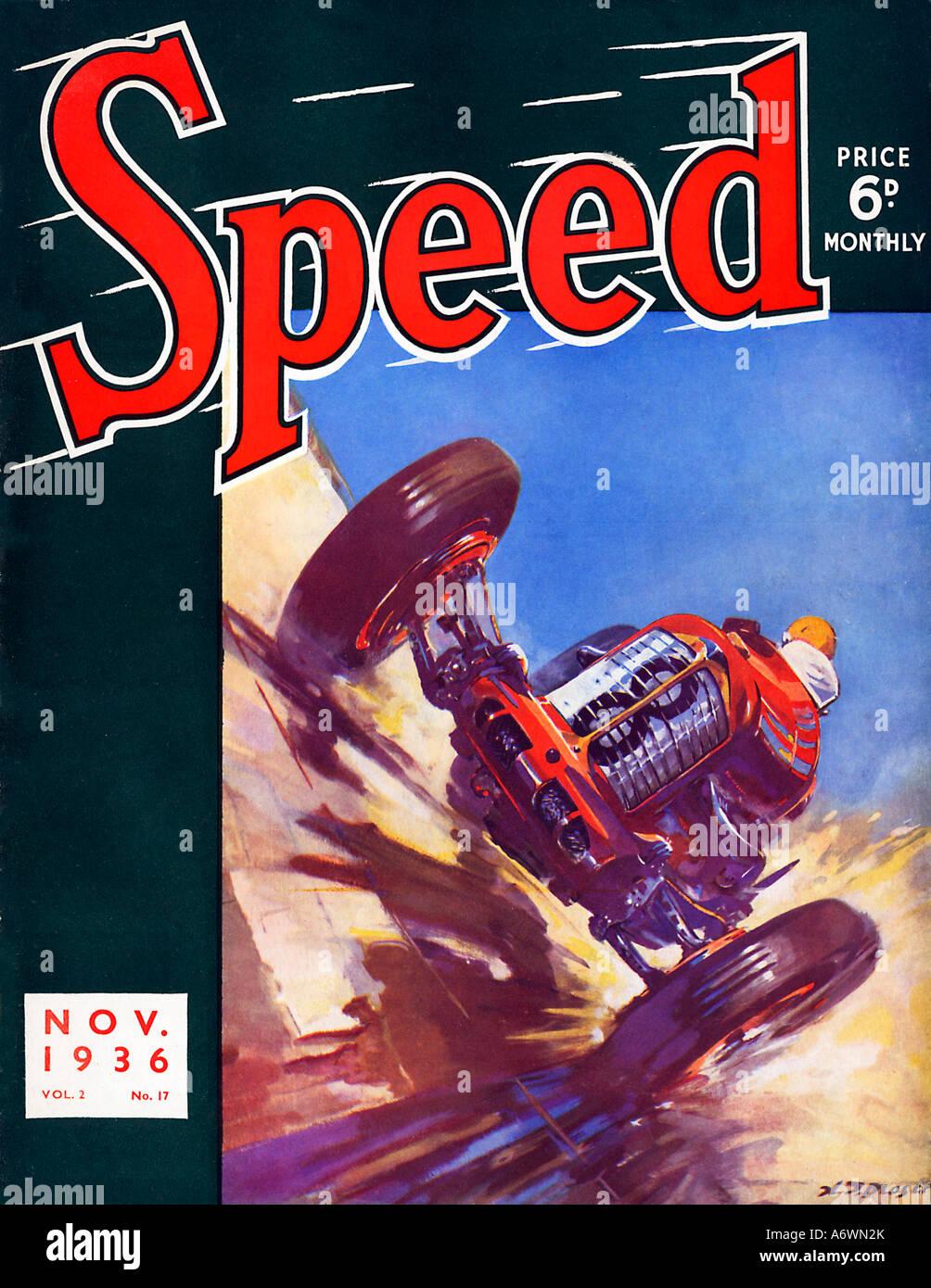 Débit Novembre 1936 Couverture du magazine pour les amateurs de sport automobile avec une voiture de course Photo Stock