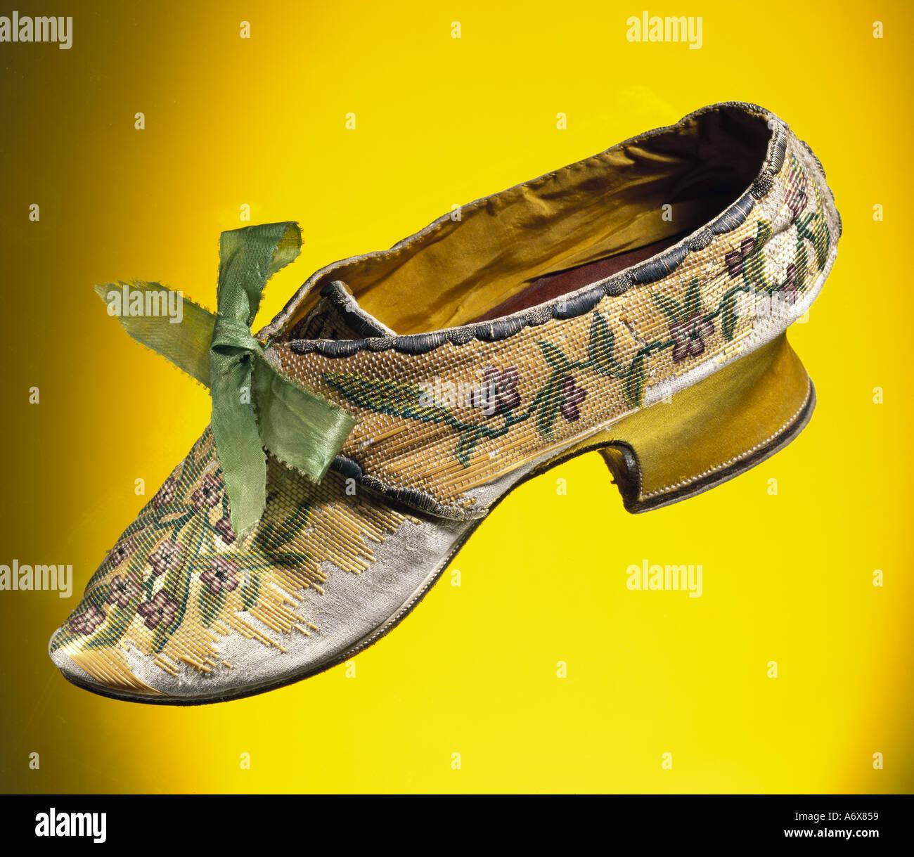 Chaussures de femme. La Grande-Bretagne, milieu du xviiie siècle. Photo Stock