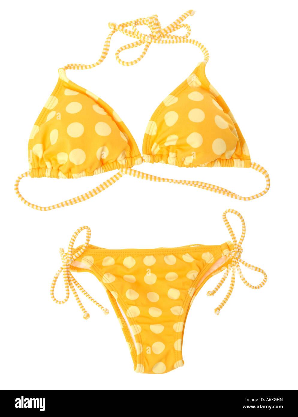 Bikini jaune découper sur fond blanc Photo Stock