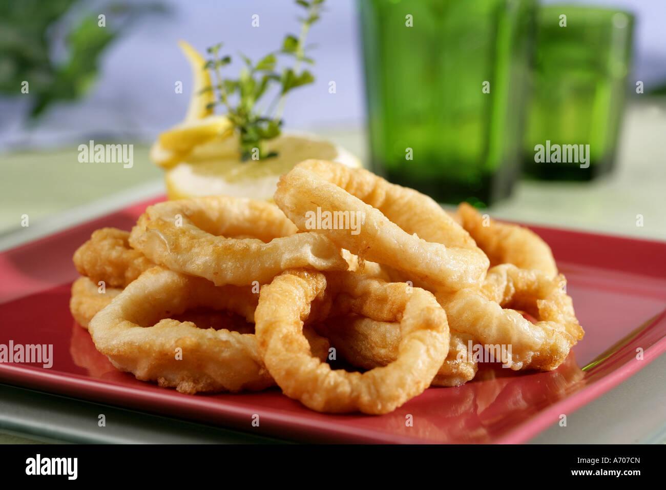 Anneaux de calmars frits Banque D'Images