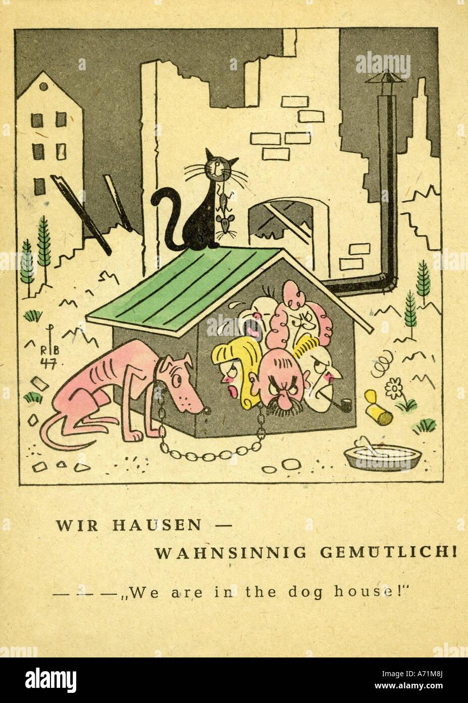 """Maison En Ruine Dessin Événements, après la guerre, allemagne, caricature, """"nous"""