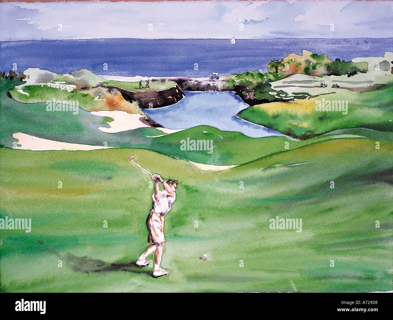 Aquarelle de golf en Arizona Photo Stock