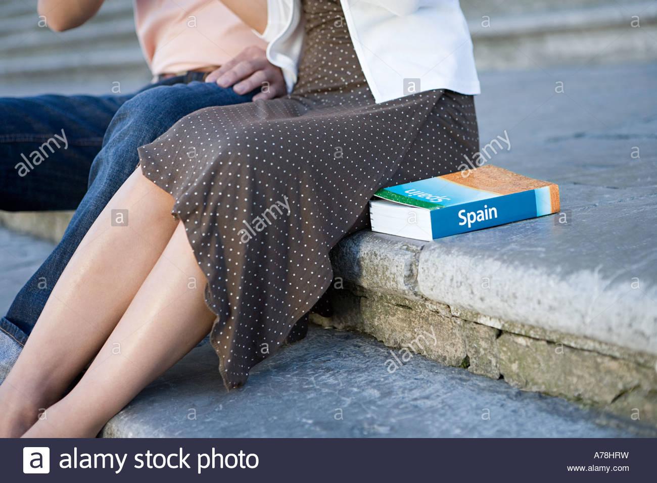 Couple assis sur l'étape Photo Stock