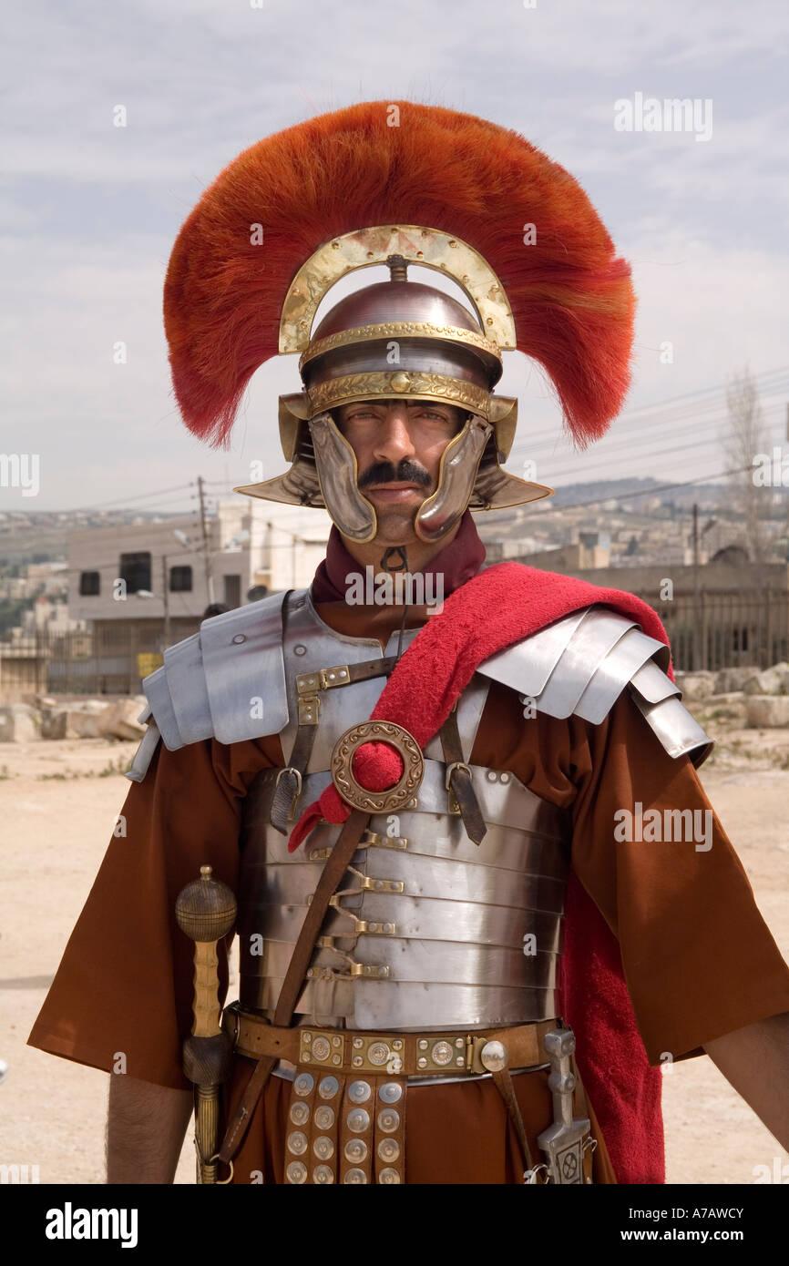 La Jordanie, Jerash, centurion romain en reconstitution historique rec Photo Stock