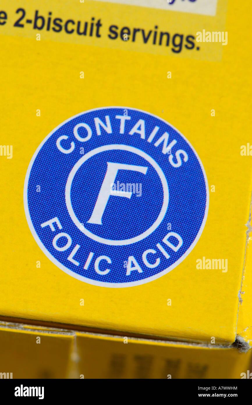 L'information sur l'emballage alimentaire en acide folique sign Photo Stock