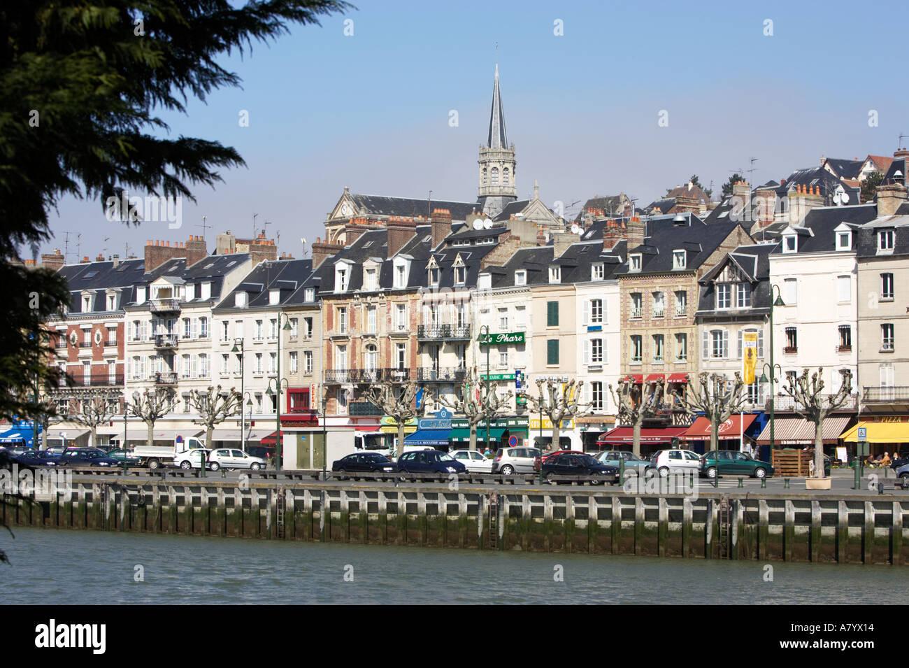 Trouville sur Mer et de la rivière Touques, Normandie, France Photo Stock