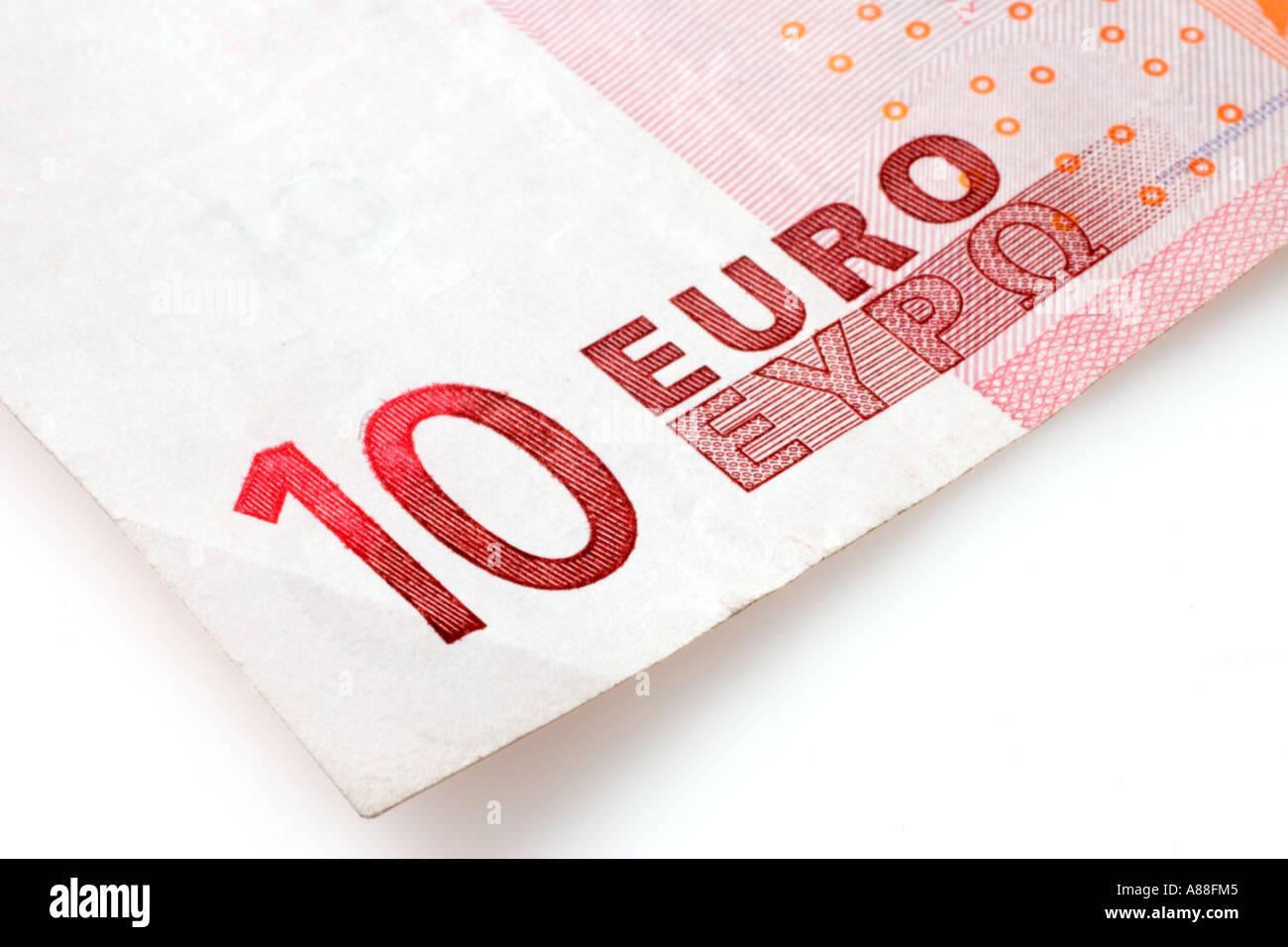Seul dix euro bank note découper sur fond blanc Photo Stock