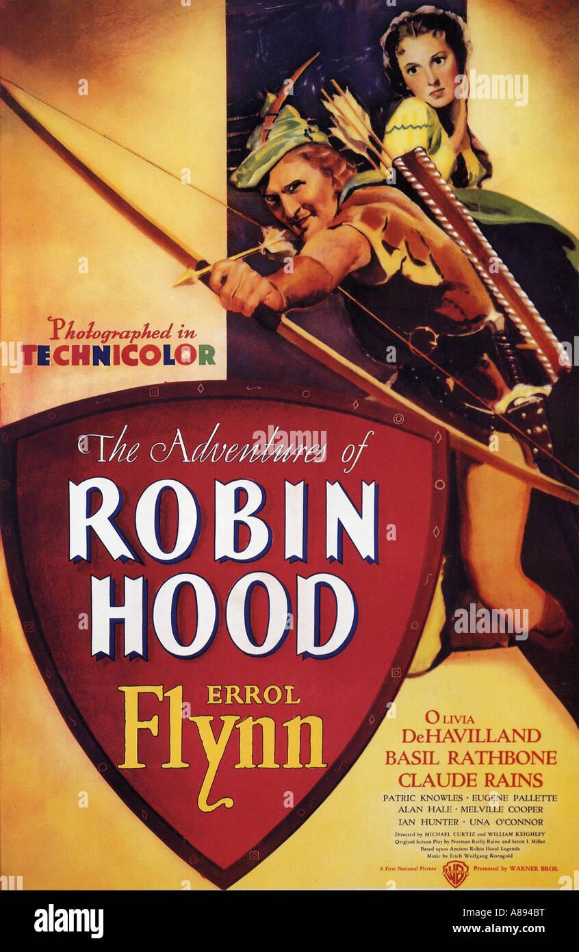 Aventures de Robin des bois pour l'affiche 1938 Warner film avec Errol Flynn Photo Stock