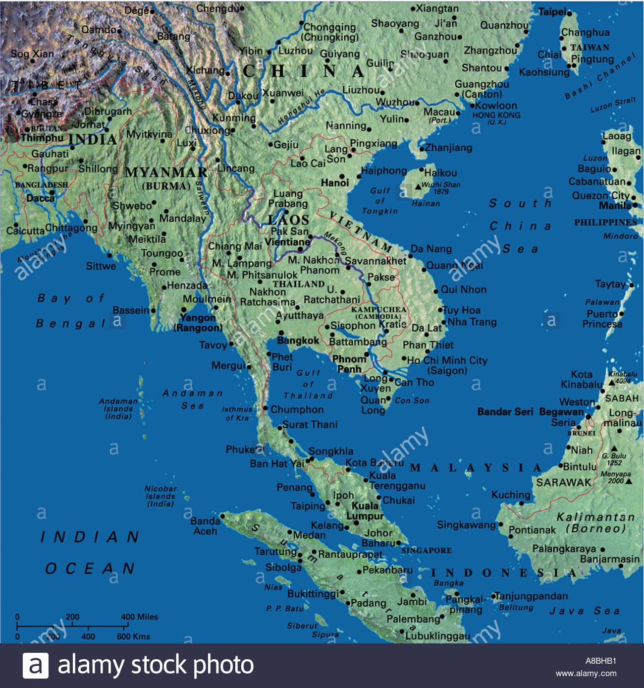 Thailande Et Indonesie Carte.Site Cartes De L Asie Thailande Indonesie Banque D Images