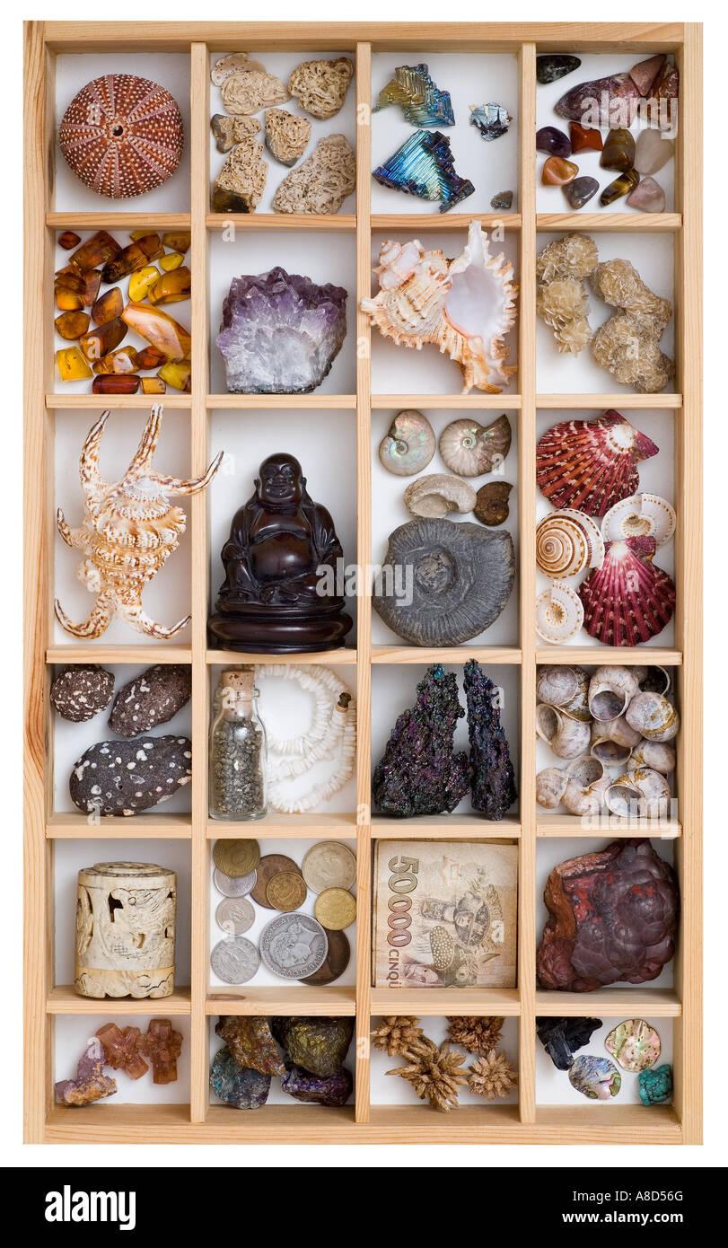 Collection de divers produits, y compris les minéraux fossiles de coquilles d'argent, des sculptures en Photo Stock