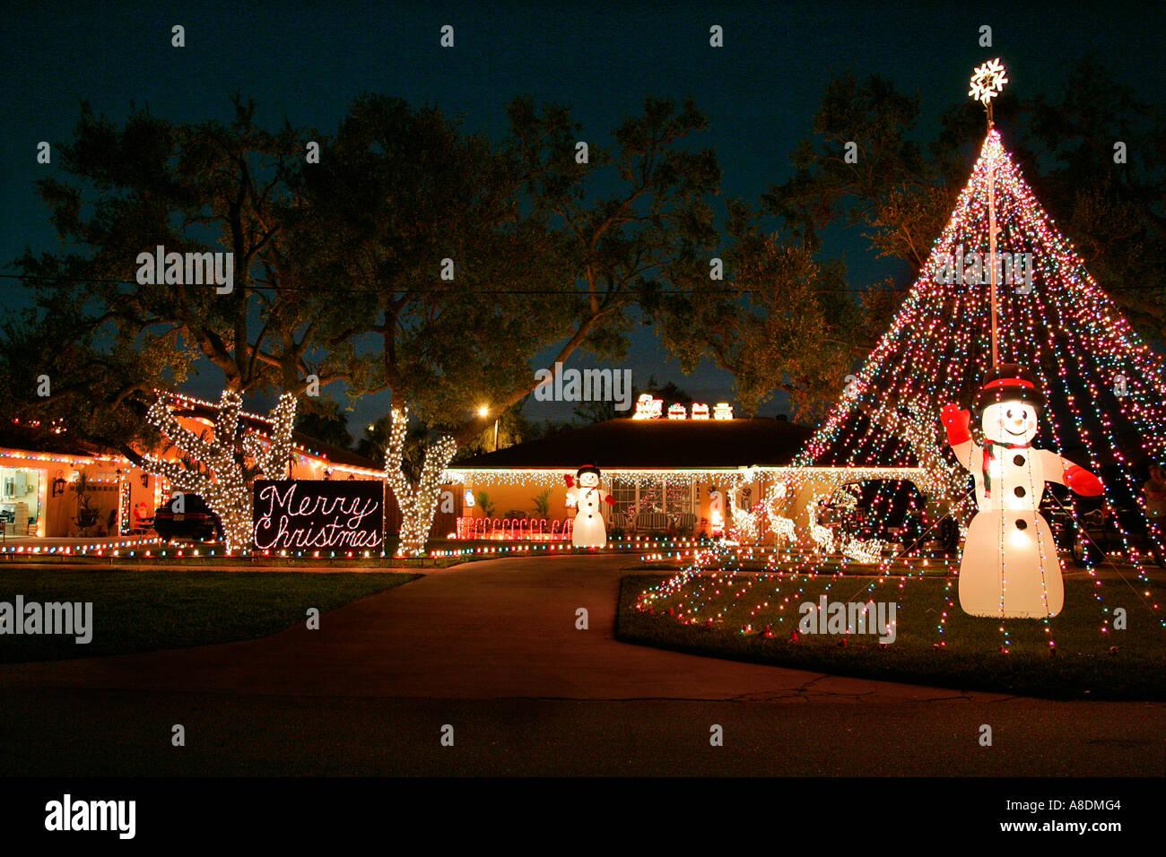 Décorations de Noël jardin avant la nuit lumières palmier temps ...