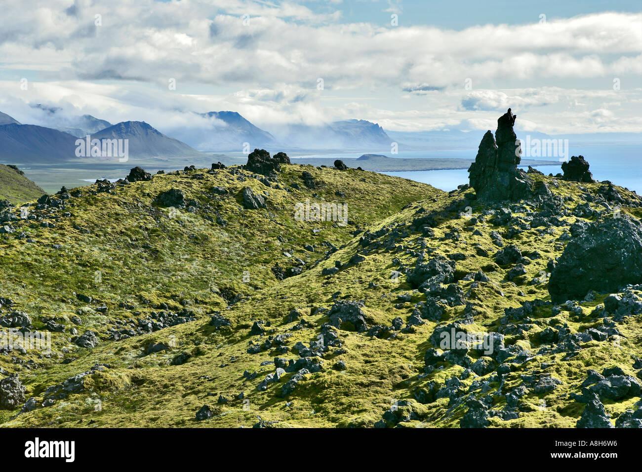 La côte montagneuse Islande Snæfellsnes Photo Stock