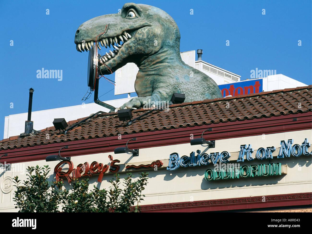 Entrée de Ripley s croyez-le ou non avec d'énormes sur le toit de dinosaures sur Hollywood Boulevard Los Angeles California USA Photo Stock