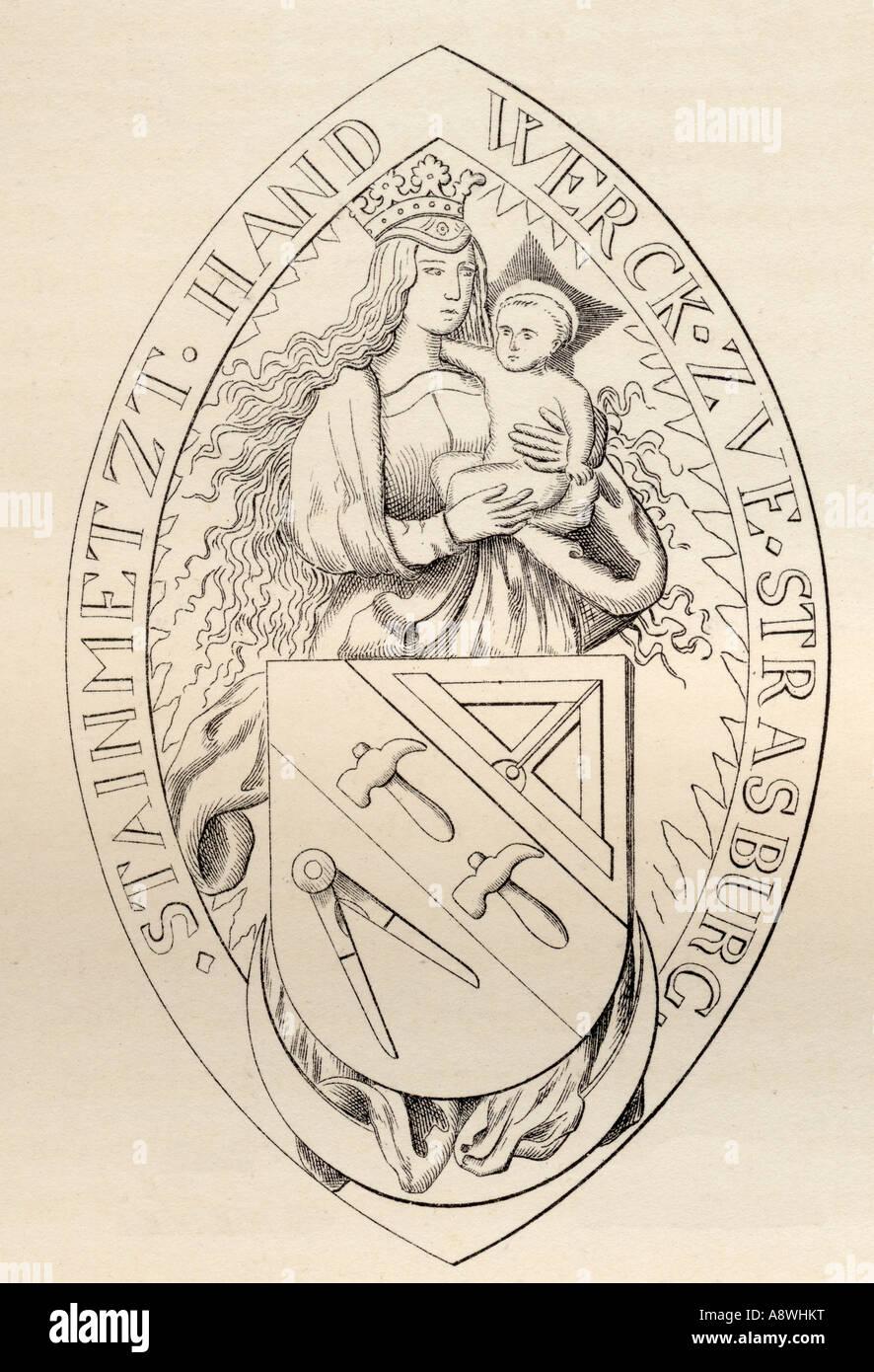Sceau de l'AD 1524 Maçons de Strasbourg Photo Stock