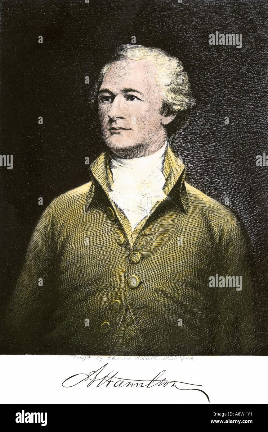 Alexander Hamilton avec son autographe Photo Stock