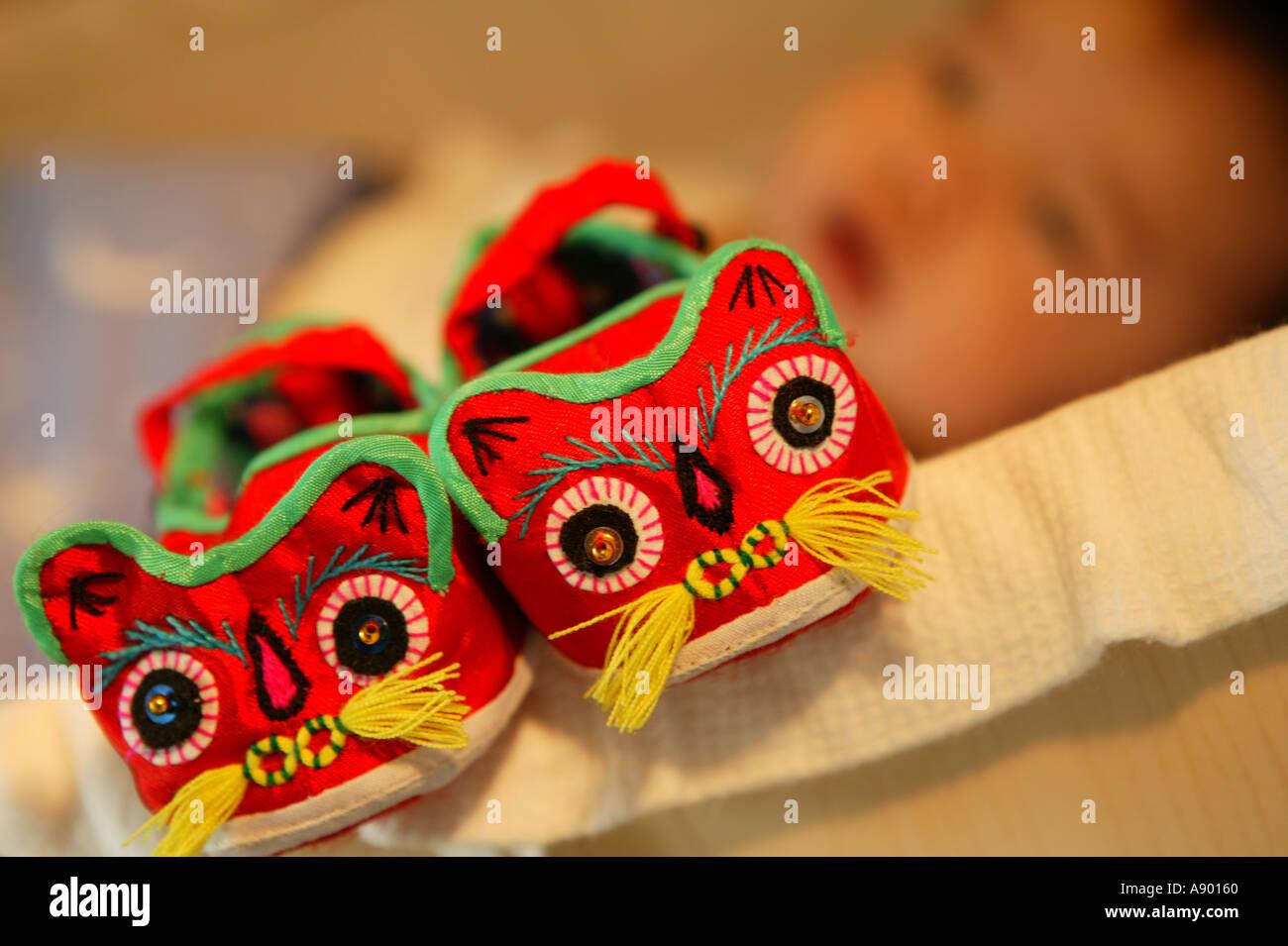 Une paire de chaussures bébé lucky Photo Stock