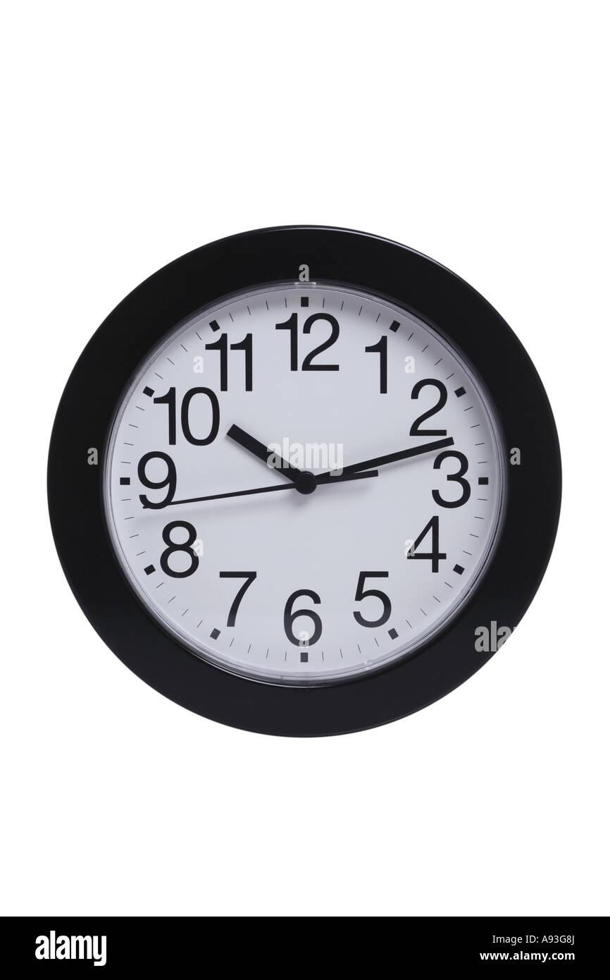 Horloge simple découper sur fond blanc Photo Stock