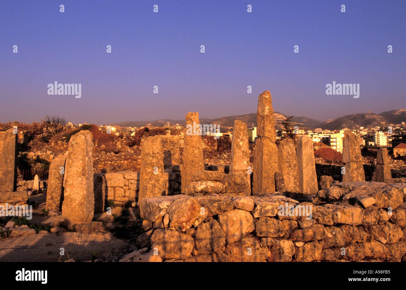 Obélisque Temple, Byblos (Jbail), Liban. Photo Stock