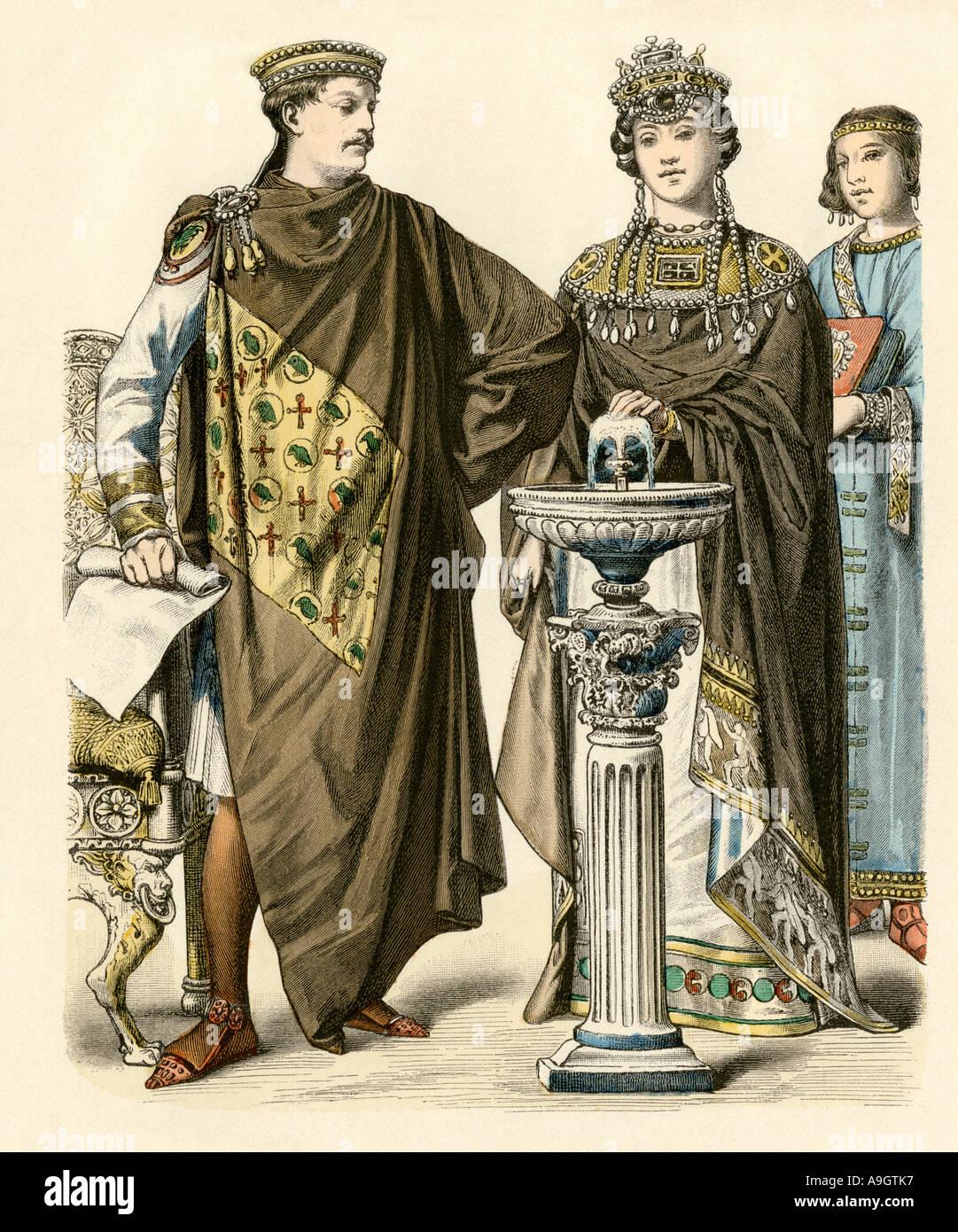 L'empereur Justinien avec l'impératrice Théodora de l'Empire romain d'500s'annonce. Impression couleur à la main Photo Stock