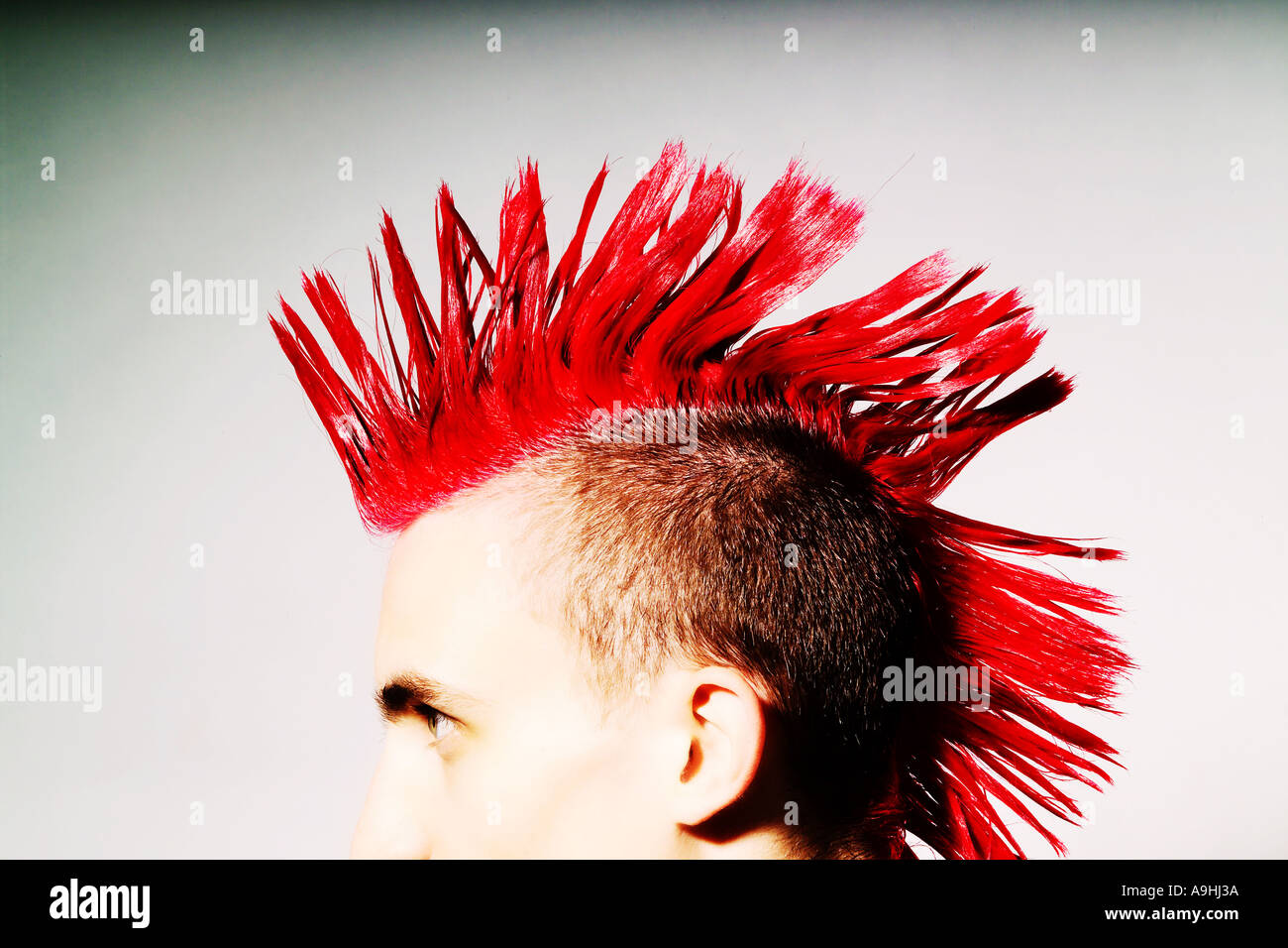 Vue latérale du Punk Rocker avec mohican rouge Banque D'Images