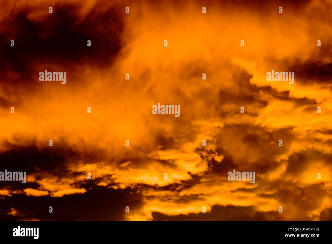 Nuages au coucher du soleil avec une couleur intense Photo Stock