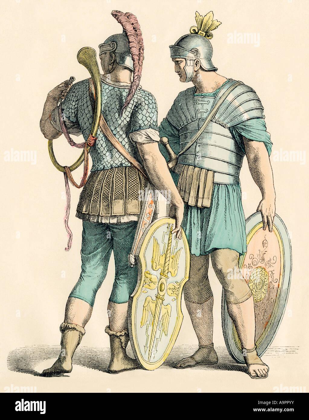 Soldats romains. Impression couleur à la main Photo Stock