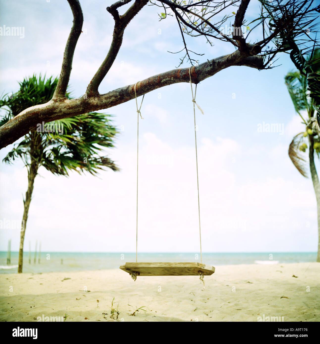 Swing sur une plage dans le sud du Belize Photo Stock