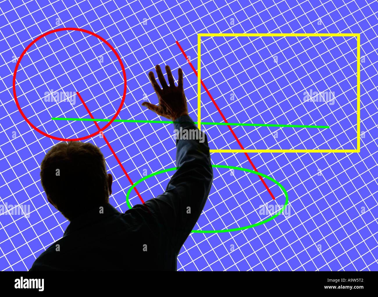 L'envoi de signal de la main de l'homme en face d'un grand écran 3D avec des images numériques Photo Stock