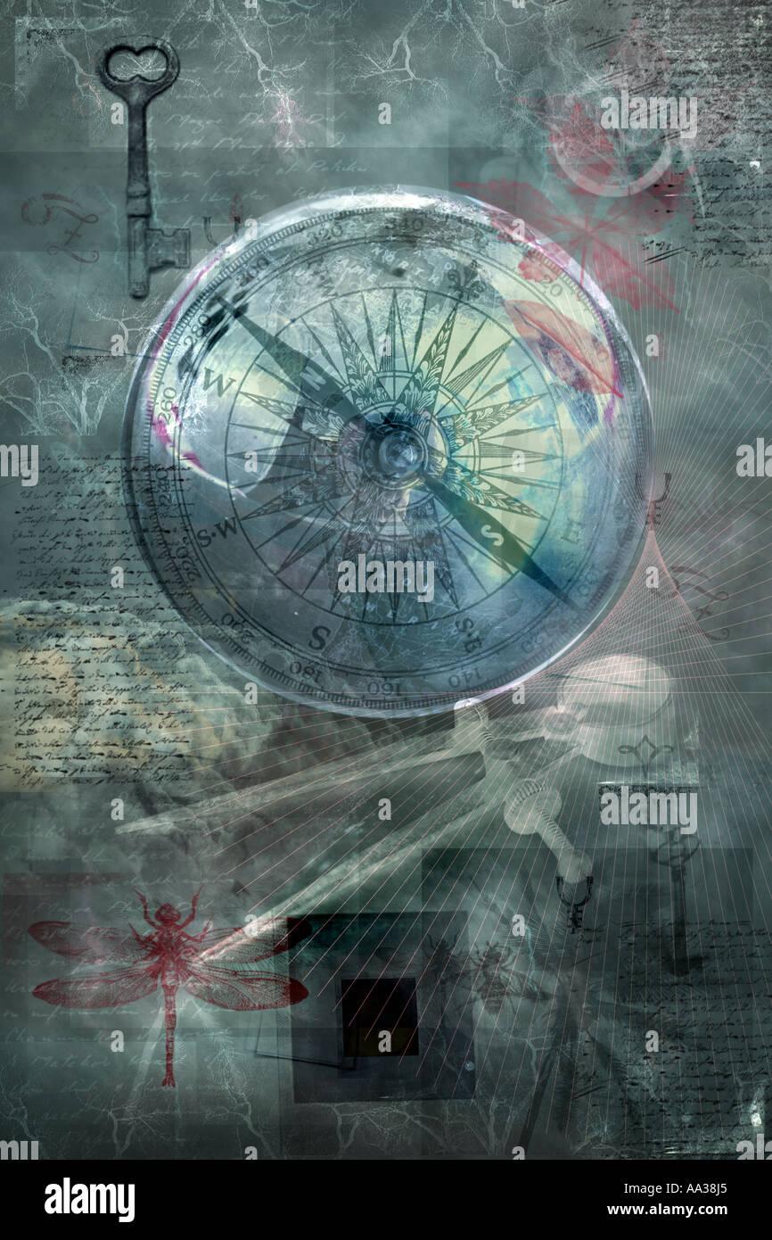Les voyages, la navigation, mystère, énigme et concepts scientifiques. Collage avec des éléments de la photo. La découverte. Photo Stock