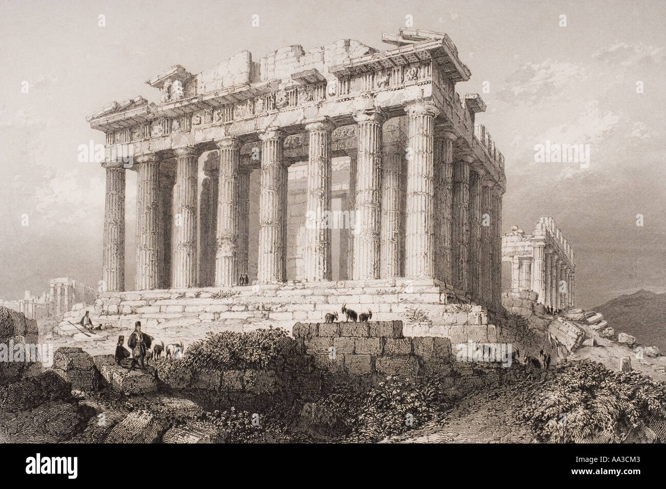 Le Parthénon à Athènes, en Grèce au 19e siècle. Photo Stock